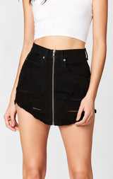 Carmar Denim: BLACK BEATRICE ZIP FRONT SKIRT - DENIM SKIRT