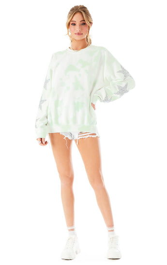 STAR PATCH TIE DYE PULLOVER