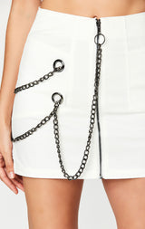 Carmar Denim: CHAIN ZIP FRONT SKIRT - IMPORT SKIRTS