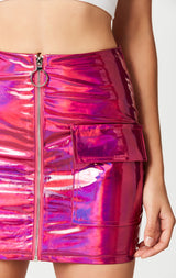 METALLIC PINK ZIP FRONT SKIRT