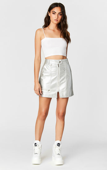 METALLIC SILVER ZIP FRONT SKIRT