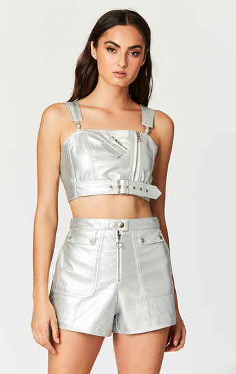 METALLIC SILVER MULTI ZIP BUCKLE TOP