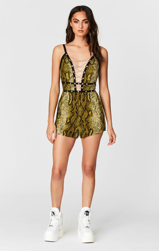 MILLAU CHAIN LACE UP SNAKE ROMPER
