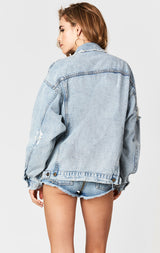 LONDON AUDREY SHREDDED OVERSIZE DENIM JACKET