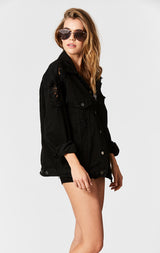 Carmar Denim: BLACK AUDREY SHREDDED OVERSIZE DENIM JACKET - JACKETS