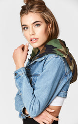 Carmar Denim: CAMO HOOD MARINA CROP DENIM JACKET - JACKETS