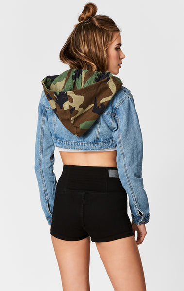 CAMO HOOD MARINA CROP DENIM JACKET