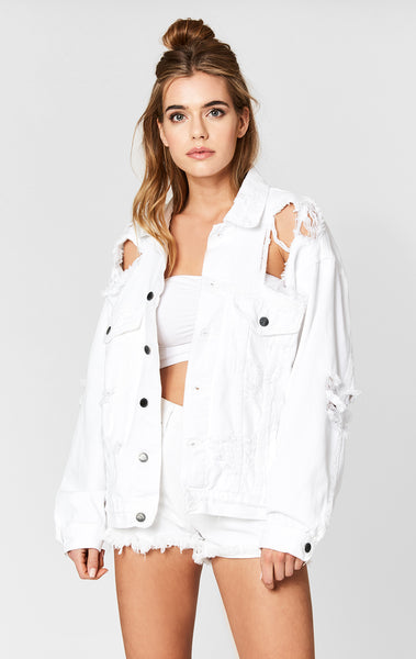 Carmar Denim: WHITE AUDREY SUPER SHREDDED OVERSIZE DENIM JACKET - JACKETS