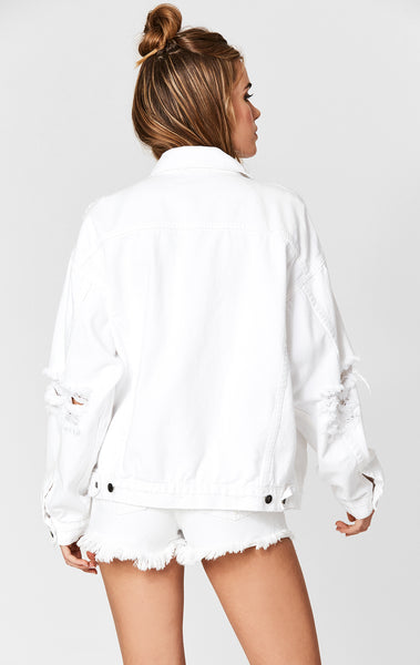WHITE AUDREY SUPER SHREDDED OVERSIZE DENIM JACKET