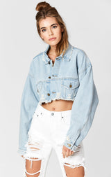 Carmar Denim: CODY NICHOLAS OVERSIZE CROPPED DENIM JACKET - DENIM JACKET