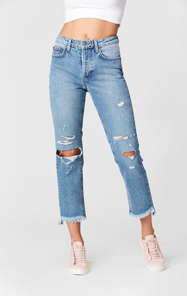 DAKOTA EMELIA DISTRESSED KNEE CROP JEAN