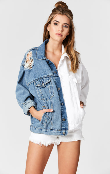 HARRISON AUDREY SPLICED OVERSIZED DENIM JACKET