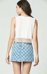 Carmar Denim: NO WAISTBAND CHECKERED CERES SKIRT -