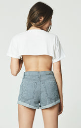 Carmar Denim: ROE PHEBE CUFFED RAILROAD STRIPE SHORT -