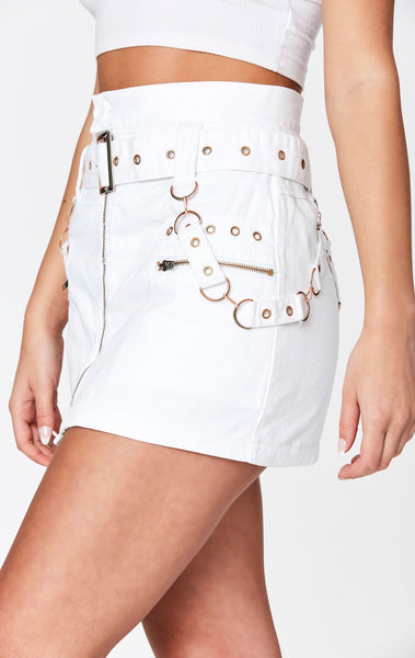 BELTED ZIP SKIRT WITH GROMMETS AND SUSPENDERS