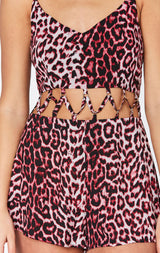 MILLAU LEOPARD PRINT LATTICE ROMPER