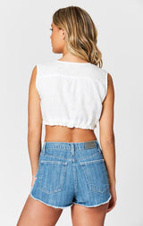 MILLAU LINEN DEEP V CROP TOP