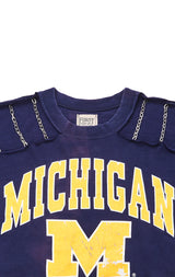 Carmar Denim: COLLEGE CROP TEE WITH CHAIN CUT OUT - VINTAGE TEE