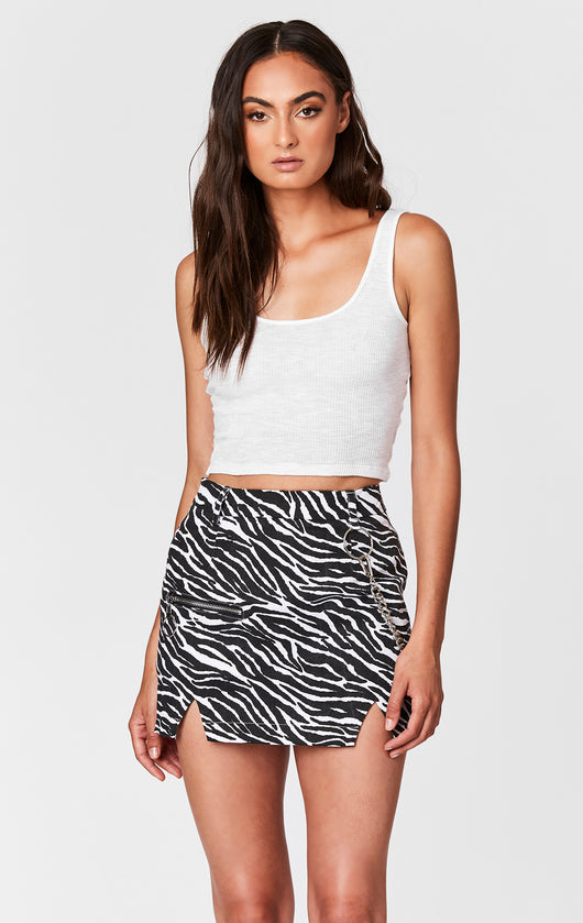 ZEBRA PRINT SKIRT WITH CHAIN