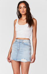 Carmar Denim: CERES COLIN SKIRT WITH CRYSTAL STAR PATCHES - DENIM SKIRT