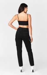 Carmar Denim: BLACK ALEXANDER CARGO SIDE POCKET HIGH RISE JEAN - JEANS