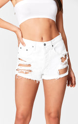 Carmar Denim: WHITE TITANIA SHREDDED CUTOUT SHORT - SHORTS