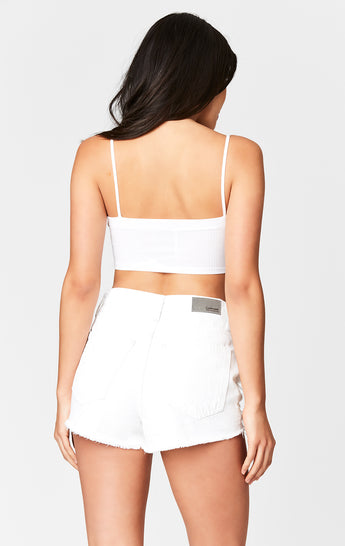 WHITE TITANIA SHREDDED CUTOUT SHORT