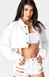 Carmar Denim: WHITE NICHOLAS BUCKLE STRAP CROPPED DENIM JACKET - JACKETS