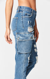 Carmar Denim: ALEXANDER CARGO SIDE POCKET HIGH RISE JEAN - JEANS