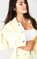 Carmar Denim: YELLOW NICHOLAS BUCKLE STRAP CROPPED DENIM JACKET - JACKETS