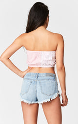 Carmar Denim: AURORA MOGAN HEM SLASH CHEEKY SHORT - DENIM SHORT
