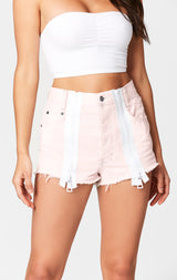 Carmar Denim: PINK TITANIA DOUBLE ZIP FRONT SHORT - SHORTS