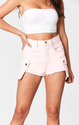 Carmar Denim: PINK TITANIA CARGO SIDE POCKET SHORT - SKIRTS