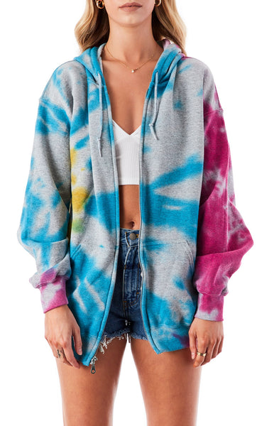 BURST TIE DYE ZIP UP SWEATSHIRT