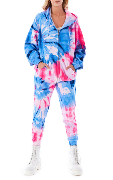 LARGE SPIRAL TIE DYE ZIP UP SWEATSHIRT