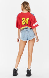 Carmar Denim: CROP TEE WITH CHAIN WAISTBAND - VINTAGE TEE