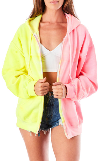 TWO TONE TIE DYE ZIP UP SWEATSHIRT