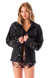 AUDREY SAFETY PIN SLEEVE SHREDDED DENIM JACKET