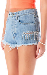 TITANIA LINSLEY RHINESTONE FRINGE DENIM SHORT