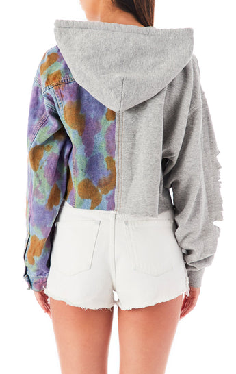 AUDREY SPLICED CROP ZIP UP JACKET