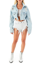 AUDREY RHODONITE CROP DENIM JACKET