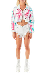 SARDONYX POLLOCK TIE DYE CROP DENIM JACKET