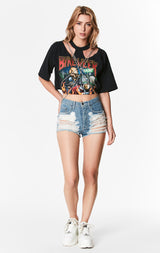 CROP TEE WITH CUT OUT SHOULDER AND DOUBLE CHAINS