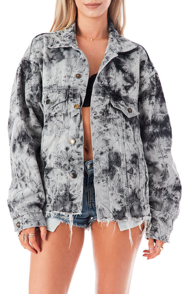 AUDREY CRYSTAL BLEACH DENIM JACKET