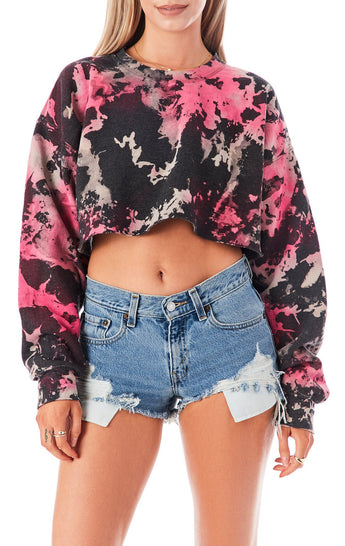 CLOUD TIE DYE CROP SWEATSHIRT