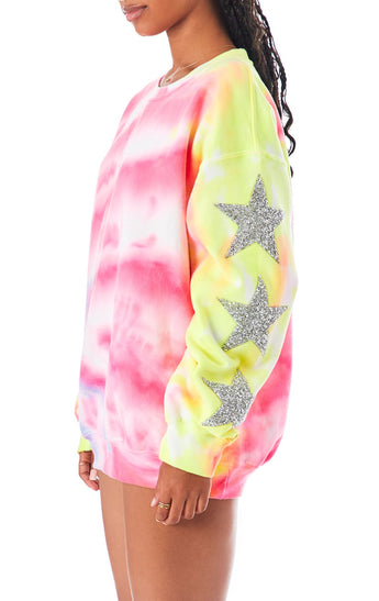 TIE DYE STAR PATCH PULLOVER SWEATSHIRT
