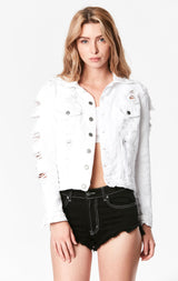 WHITE OTHELLO SHREDDED DENIM JACKET