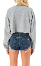 SPIKE STUD TRIM CROP SWEATSHIRT