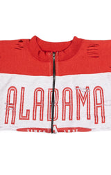 ZIP FRONT CROP COLLEGE SWEATSHIRT