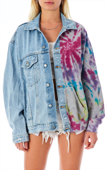 AUDREY SPLICED DENIM AND SPLOTCH TIE DYE JACKET